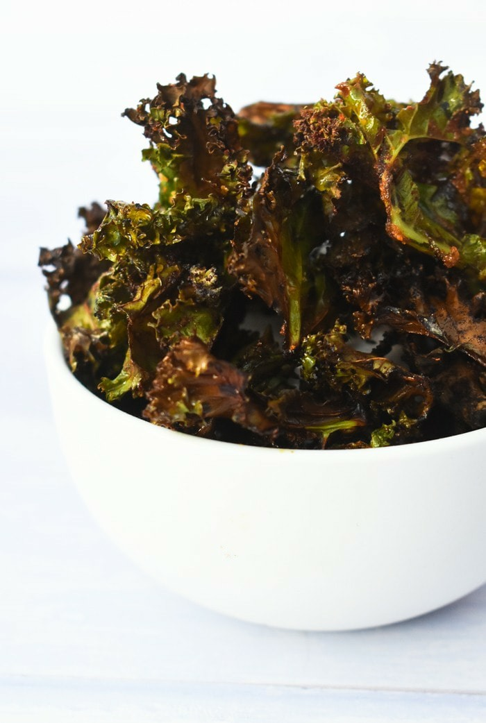 close up of crisp curly kale chips