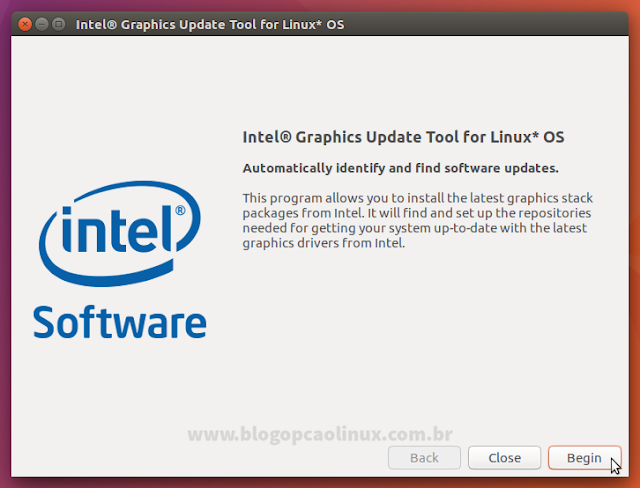 Tela principal do Intel Graphics Update Tool no Ubuntu