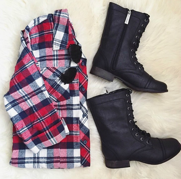 A'GACI plaid shirtdress and combat boots for fall