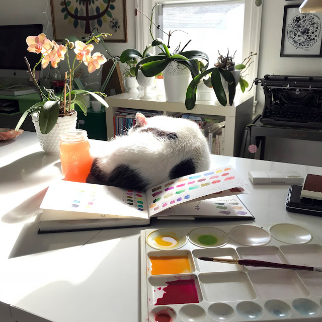 art studio, artist studio, workspace, studio cat, black and white cats, watercolor, paint palette, sketchbooks, Anne Butera, My Giant Strawberry