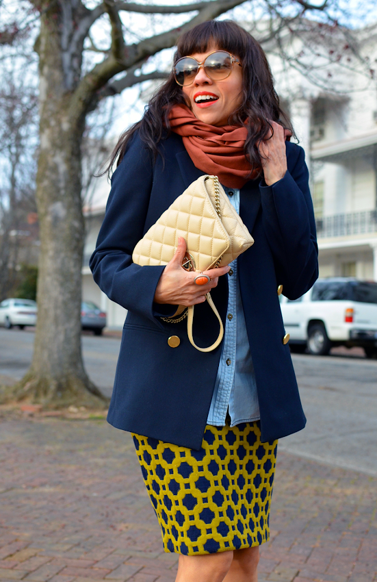 Outfit with navy blazer
