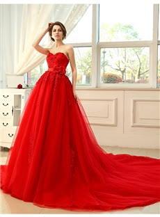 Alt+ Charming Strapless Sweetheart Neckline Lace-Up Empire Ball Gown Wedding Dress