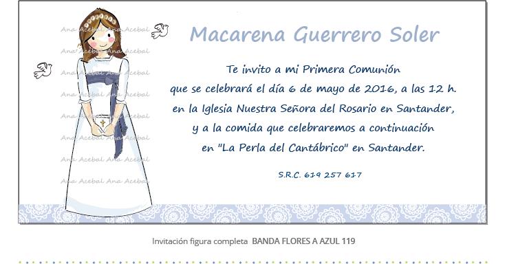 Invitacion de primera comunion personalizada