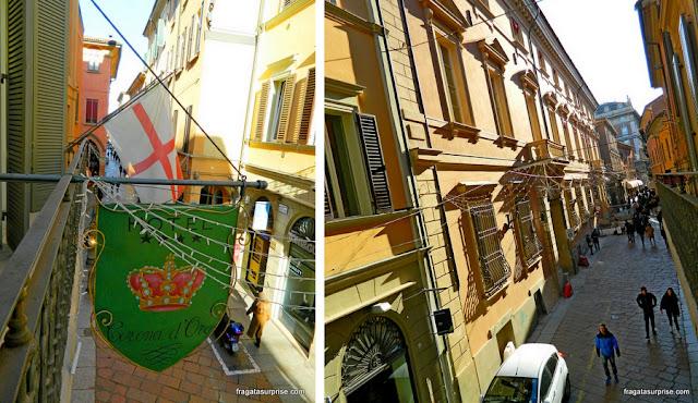 Vista do balcão do Hotel Corona d'Oro, Bolonha, Itália