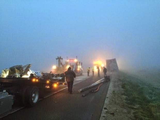 fresno county highway 41 one killed big rig foster farms crash