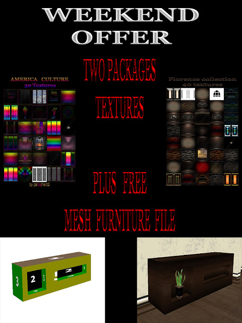 TEXTURES IMVU FOR SALE: TWO PACKAGES TEXTURES PLUS FREE MESH