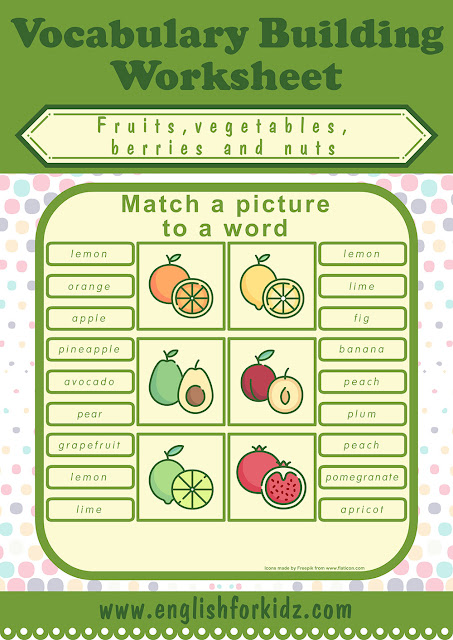 fruits and vegetables worksheet picture to word matching