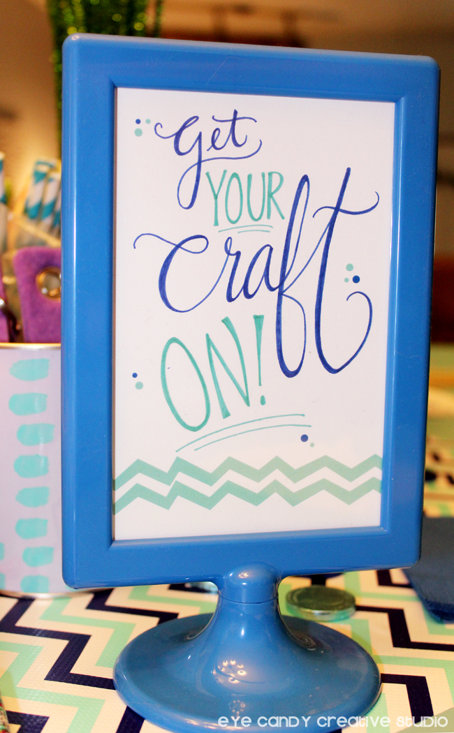 get your craft on sign, birthday signs, blue IKEA frame, chevron, party
