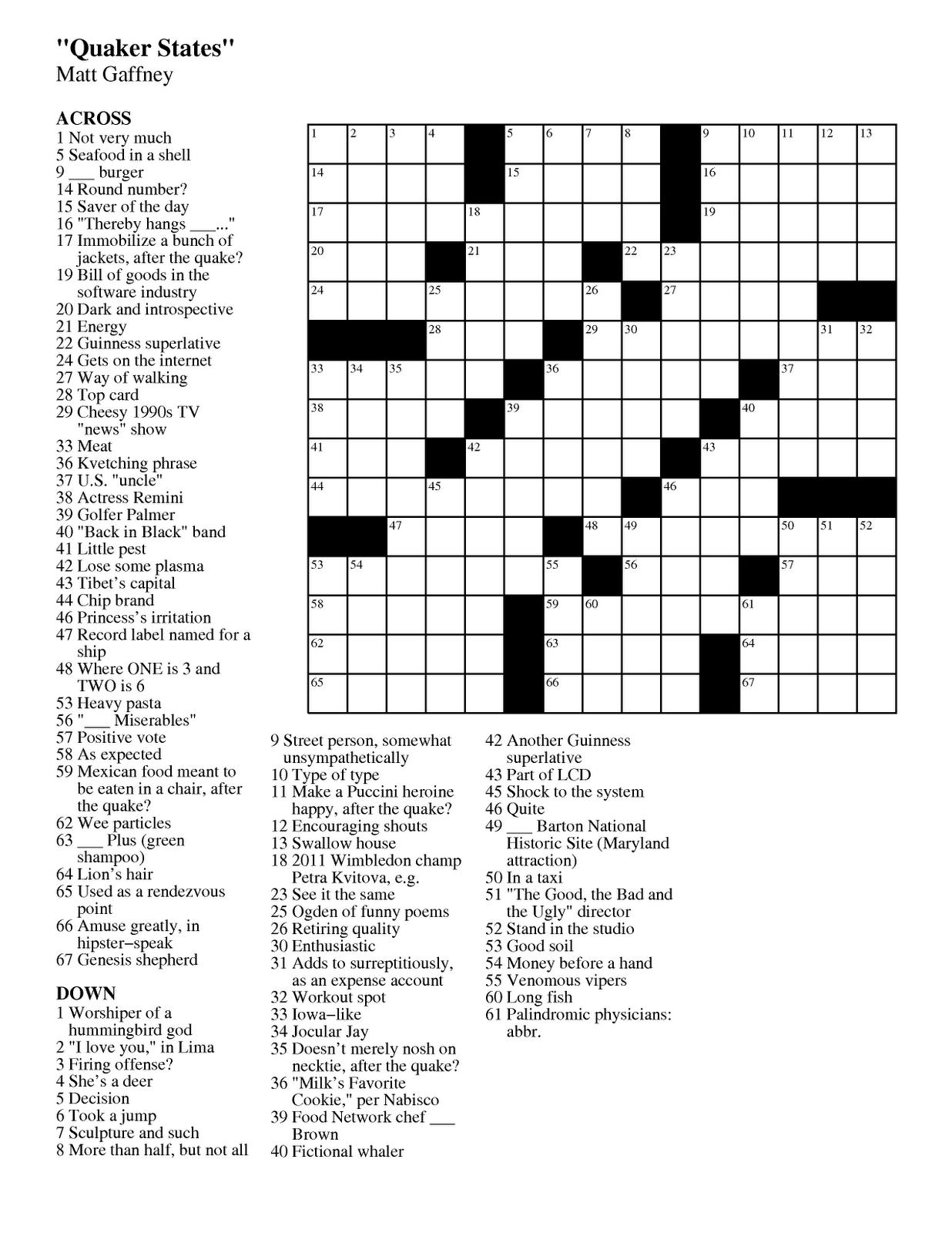 Matt Gaffney's Weekly Crossword Contest: MGWCC #170 ...
