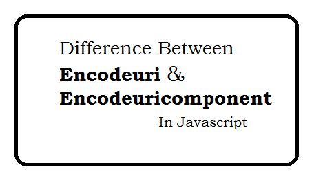Difference between encodeuri and encodeuricomponent in javascript