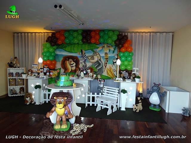 Decoração Madagascar para festa de aniversário