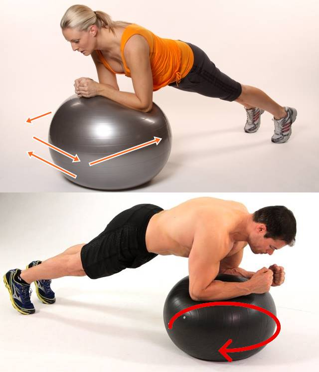 Plancha con apoyo sobre fitball abdominales