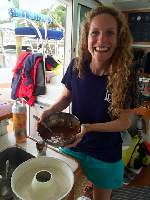 Baking brownies on the boat