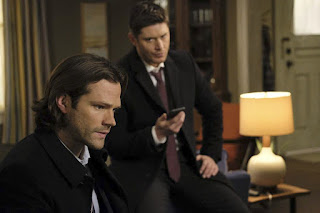 "Jared Padalecki as Sam Winchester and Jensen Ackles as Dean Winchester in Supernatural 12x15 ""Somewhere Between Heaven and Hell"""