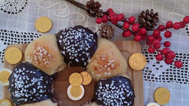 roscón reyes rosca navidad chocolate azúcar perlado sin relleno horno fácil bolitas