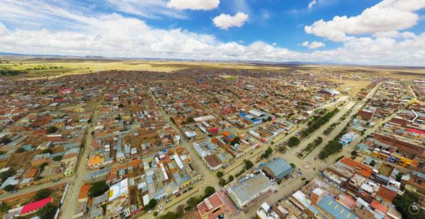 Panorama aéreo de Villazón y en 360 grados