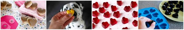 Homemade molded heart shaped Valentine dog treats