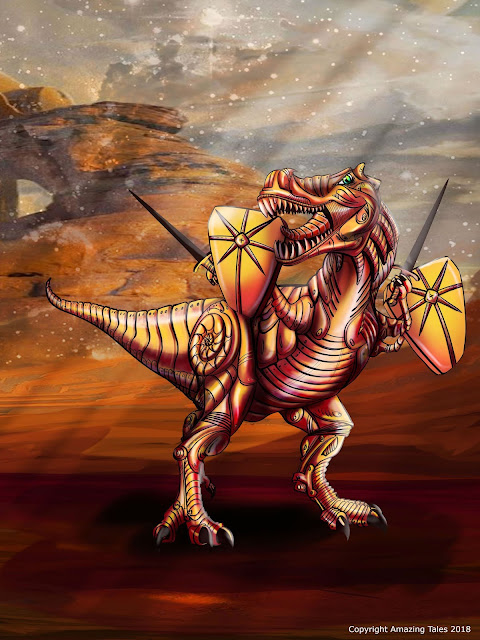A t-rex with two shields and two swords and armor in a desert wasteland