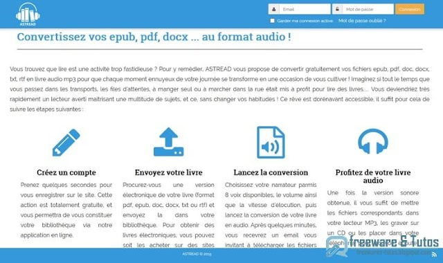 Astread : convertir vos ebooks et documents en livres audio