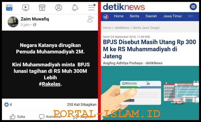 Pemuda Muhammadiyah Sudah Kembalikan Rp 2 M, Warganet Sindir Tunggakan Pemerintah (BPJS) Rp 300 M ke RS Muhammadiyah