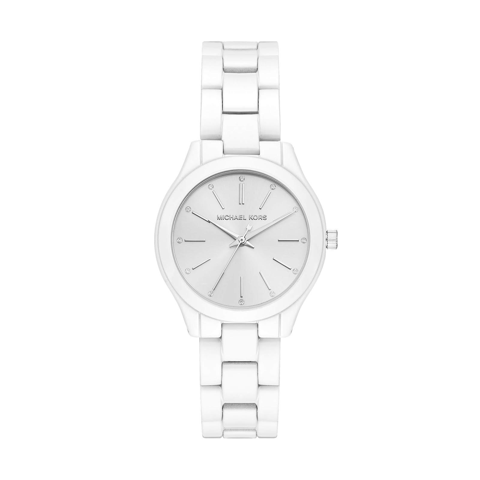 5f0be458e89e3 A marca de relógio Michael Kors apresenta a nova coleção com banho total  white, com pulseira de aço, com camadas resistentes e acabamentos  diferenciados ...