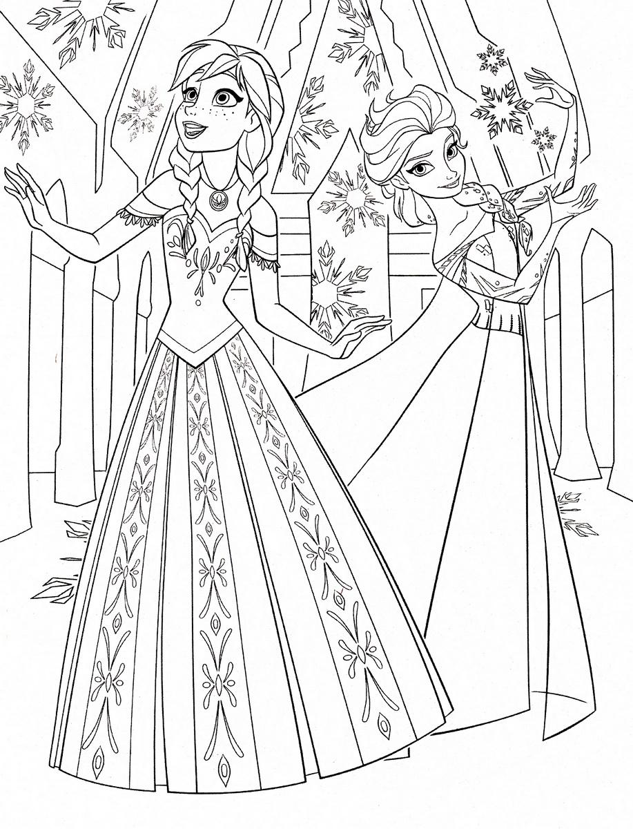 Tranh tô màu Elsa và Anna 1