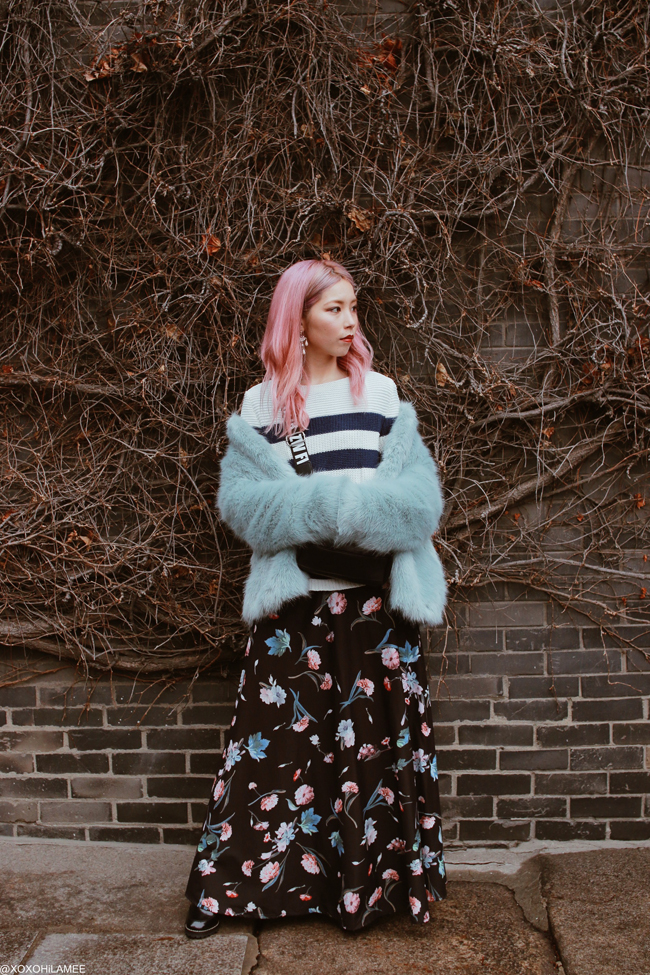 Japanese Fashion Blogger,MizuhoK,20180304OOTD in Seoul,SouthKorea-Bershka=faux fur jacket,ZARA KIDS=stripe knit sweater,ZARA=crossbody bag,SheIn=floral maxi dress,H&M=lace up boots,bought in seoul earrings,rings