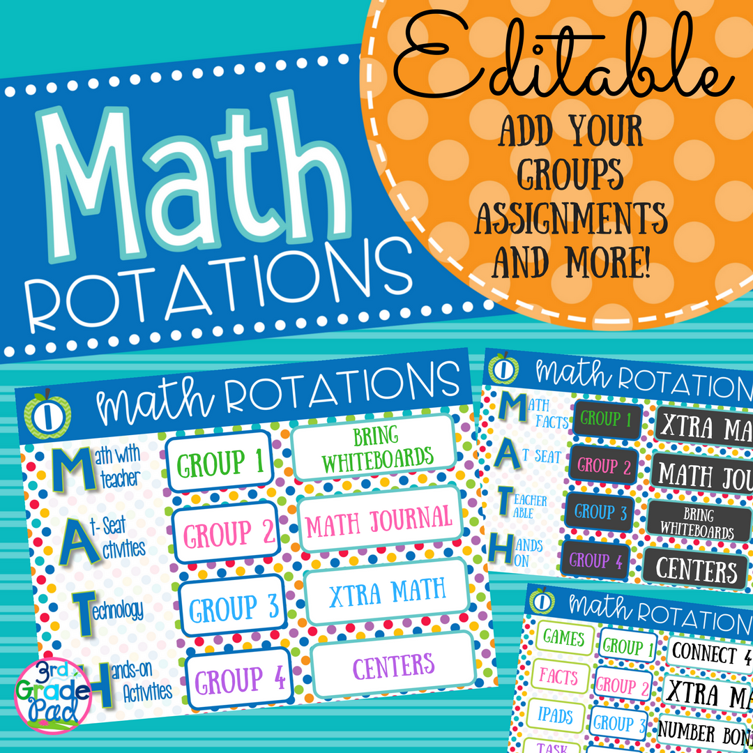 Managing Guided Math Rotations - 3rd Grade Pad
