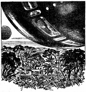 one of the uncredited illustrations accompanying the original publication in Astounding magazine of short story Dead Knowledge by John Campbell