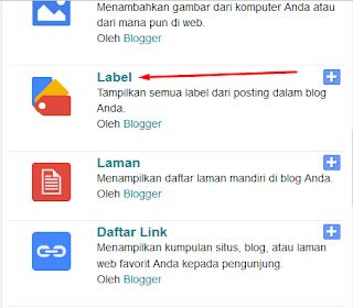 Menambahkan widget label di Blog