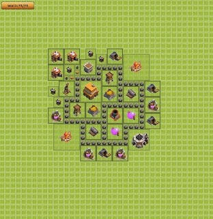 Base Clash of Clans Terbaik TH 4 Hybrid