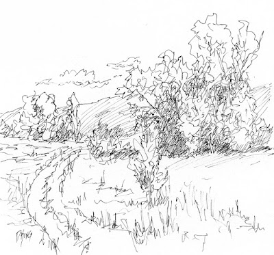 pen sketch ink art landscape tree field road
