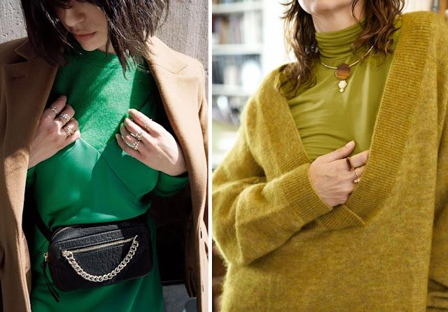 Зеленая водолазка с платьем комбинацией и свитером