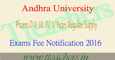 AU Pharm.D II, III, IV, V Years Regular/Supple Exams Fee Notification 2016