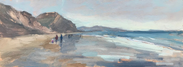 #264 'Low Tide Charmouth Beach' 15x40cm
