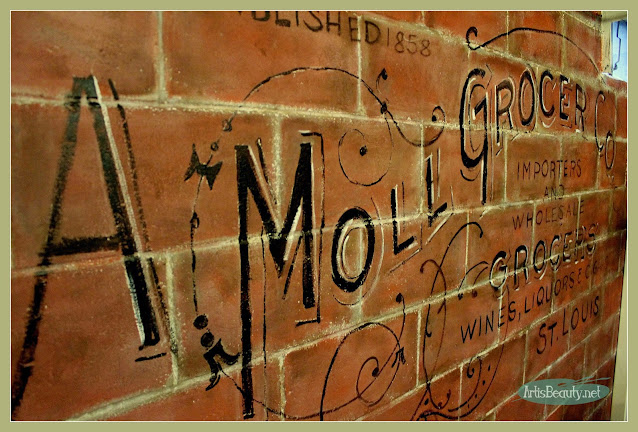 artisbeauty.net DIY wall Mural Vintage Cinder block, advertising, before and after Ghost wall painting project