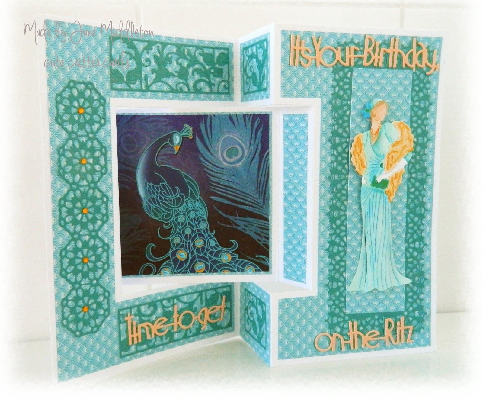 cute critter cards : Tattered Lace Art Deco Tri Fold card