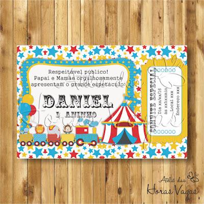 convite digital aniversário infantil personalizado circo encantado colorido estrelinhas ingresso bilhete imprimir 1 aninho menino