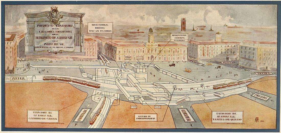 Perspectiva esquemática de la Estación de Metro de Sol