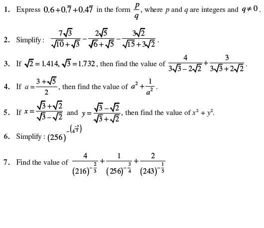 DCMC MATH Class 8: practice worksheet for class 9 on real numbers
