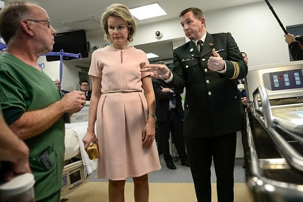 Queen Mathilde of Belgium visits the Queen Astrid military hospital with Col. (Dr.) Serge Jennes from the Burn Wound Center Military Hospital in Brussels in Neder-over-Heembeek, northern Brussels