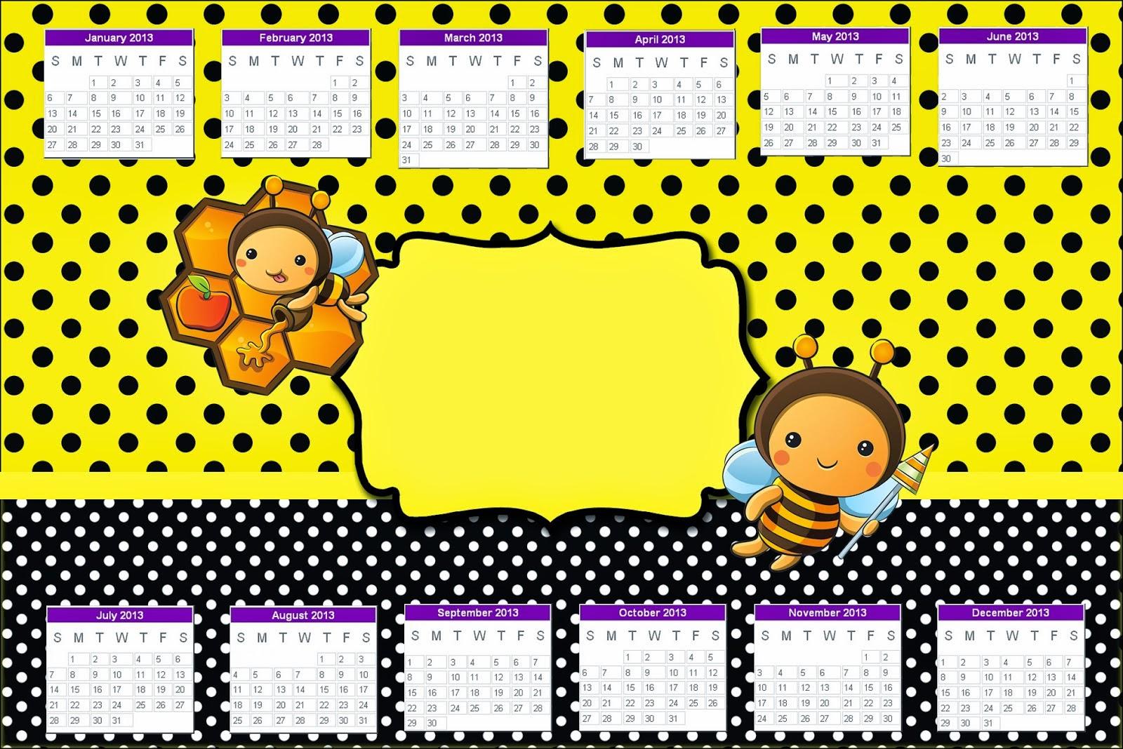 Calendario para imprimir gratis de  Abejitas Bebé