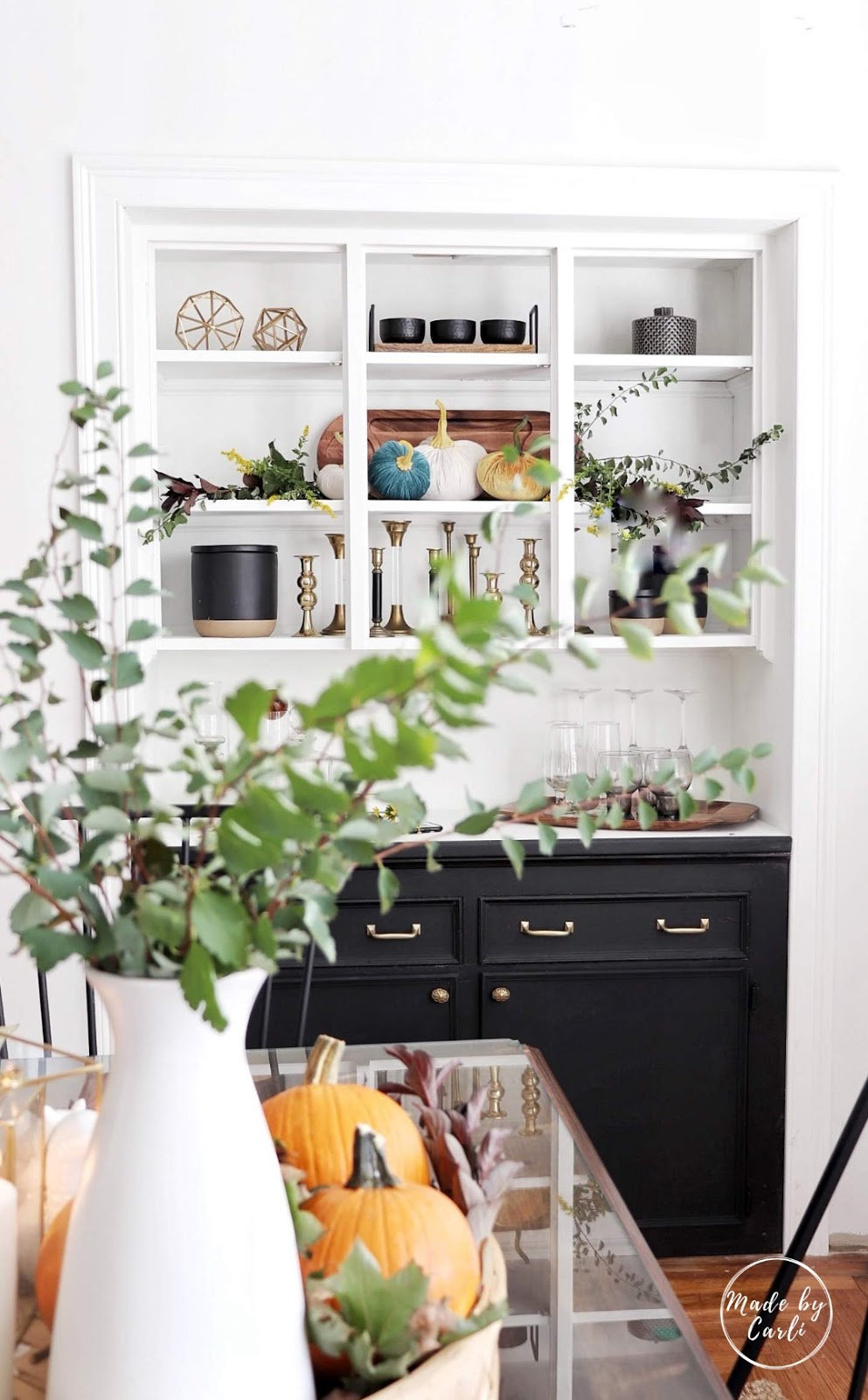 butler's pantry decorated for fall