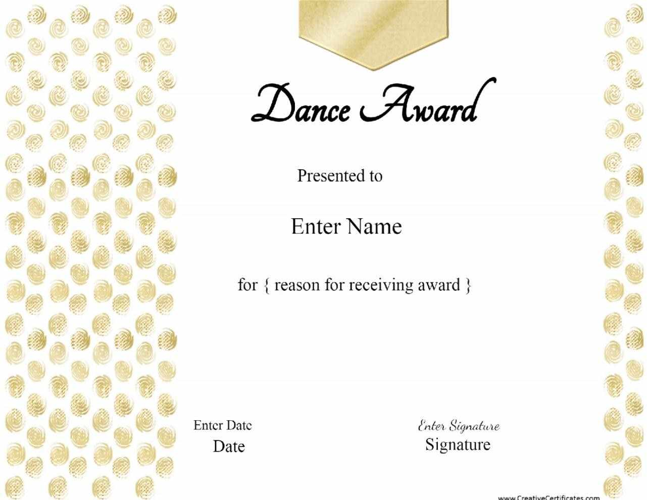 Dance award certificate etamemibawa dance award certificate yadclub Image collections