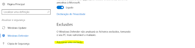 Exclusões Windows Defender