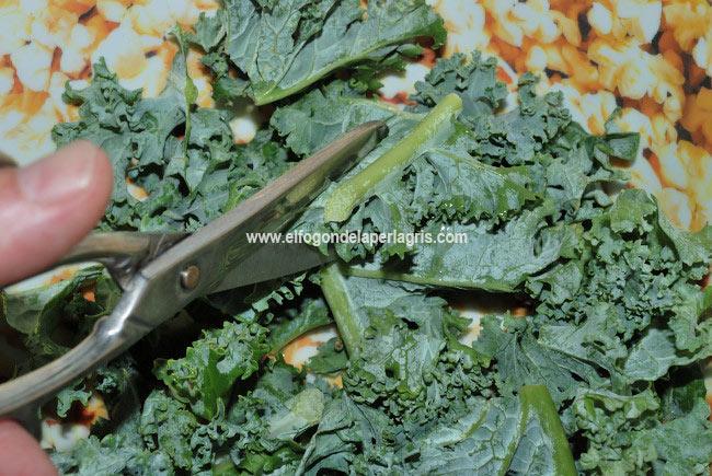 Eliminar los tallos del kale