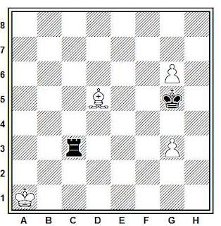 Estudio artístico de ajedrez compuesto por V. Kivi (1º Premio, Tidskrift för Schack 1945)