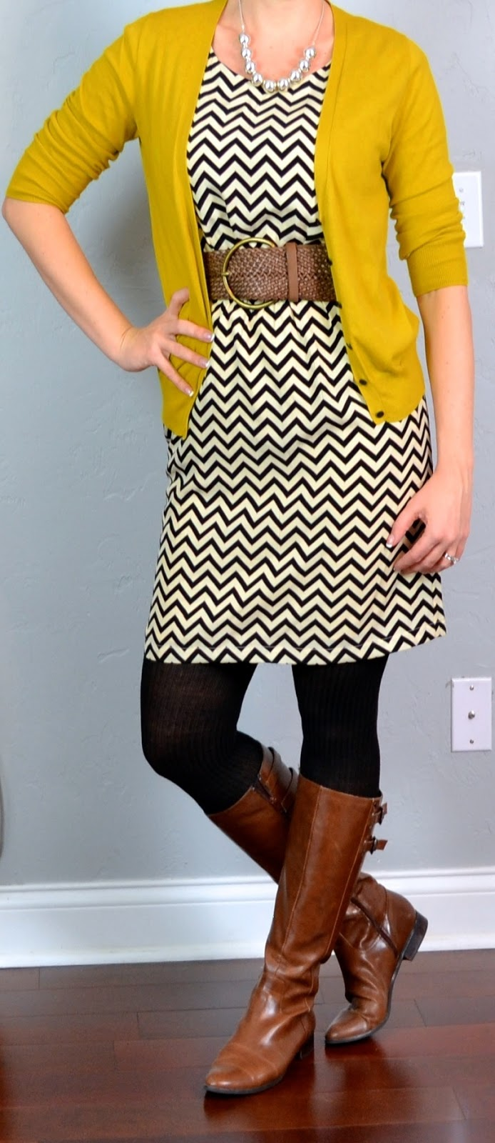 Outfit Posts: outfit post: chevron dress, mustard cardigan