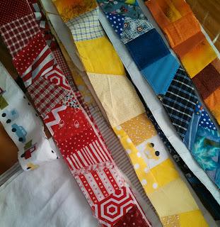 ProsperityStuff Crumb Quilt Strips - scraps stitched to adding machine paper