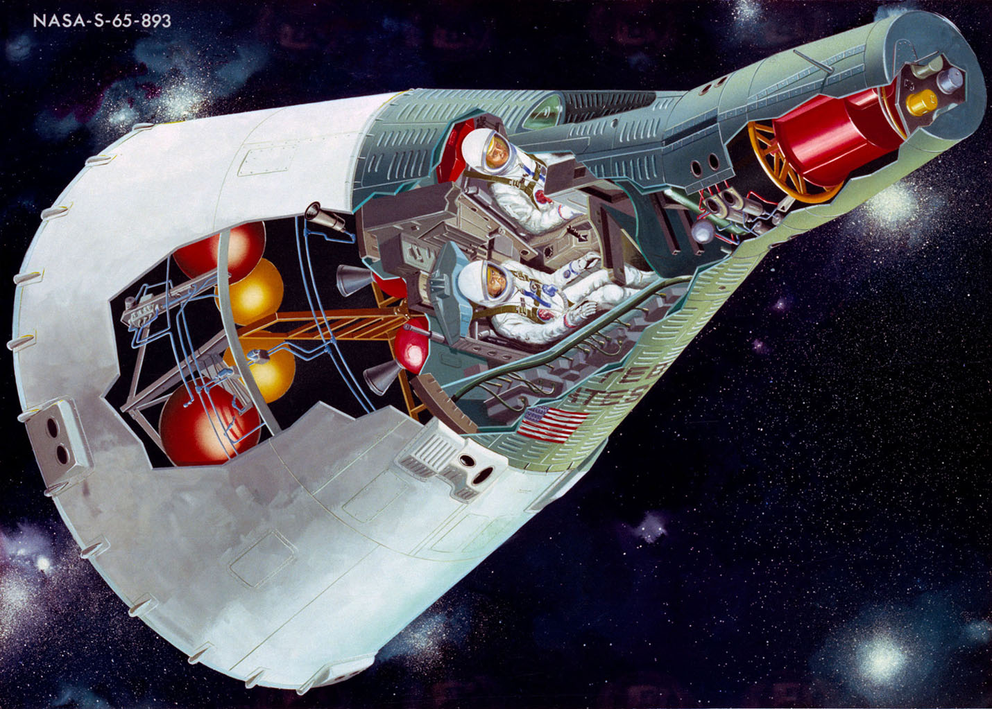 cutaway illustration of a gemini spacecraft displaying its forward facing windows ejection seats nose mounted rendezvous radar and parachutes  [ 1430 x 1023 Pixel ]